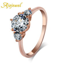 Ajojewel 3 Pcs Sparkling Zirconia Crystal Band Ring Rose Gold Color Wedding Engagement Jewelry Simple zys107 rose gold color created green austrian crystal jewelry set with 3 pcs ring necklace eearrings
