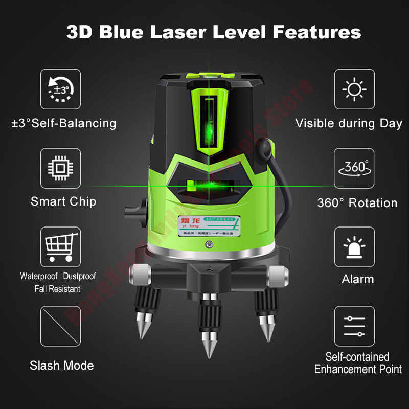 Laser Level Green 2 3 5 Cross Lines 360 Degree Rotary Self- leveling Laser Level in Box Without Bracket Diagnostic Tools