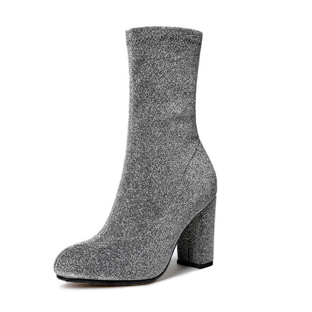 placeholder Silver leather Women Ankle Boots Glitter Zipper Side Velvet  Sock Thigh High Boots Slim Elastic Shoes 2fd445fd2f5b