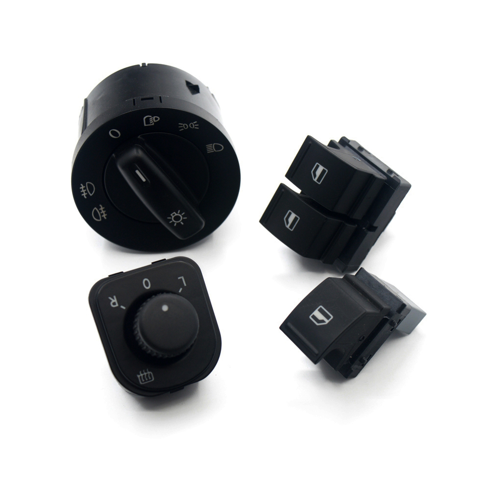 4Set Headlight Windows Mirror Switch Button 1K0 941 431N 1K0 959 565K 1K3 959 857A 1F0 959 855 For VW EOS Golf 5 6 GTI Passat CC(China)