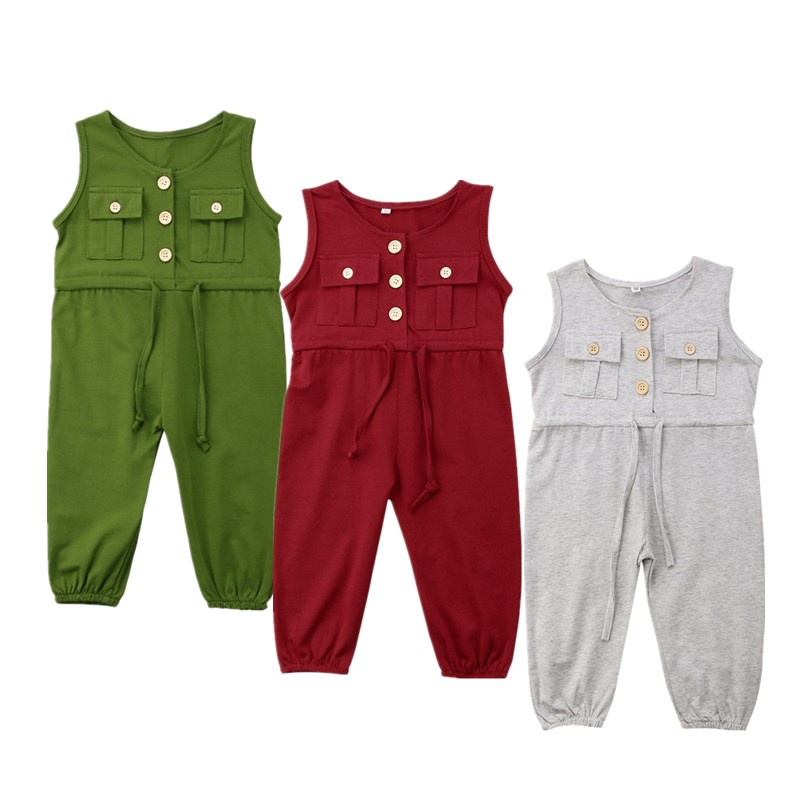 Toddler Kids Baby Girl Summer   Romper   Cotton Pockets Buttons Playsuit Sunsuit Girls Bandage One-Piece Clothes Overalls   Rompers