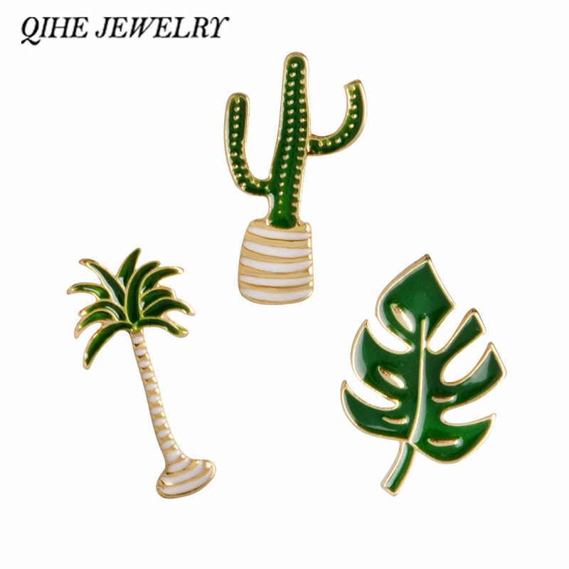 QIHE JEWELRY Cactus Palm Leaves Plant Tree Natural Lapel Pin Enamel Brooch Collar Pins Cactus Gift Cactus Jewelry
