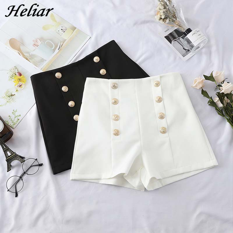 HELIAR Hot Shorts Female Casual Fashion Double-Breasted Button Short With Zipper 2019 Women Streetwear White Wide Leg Shorts