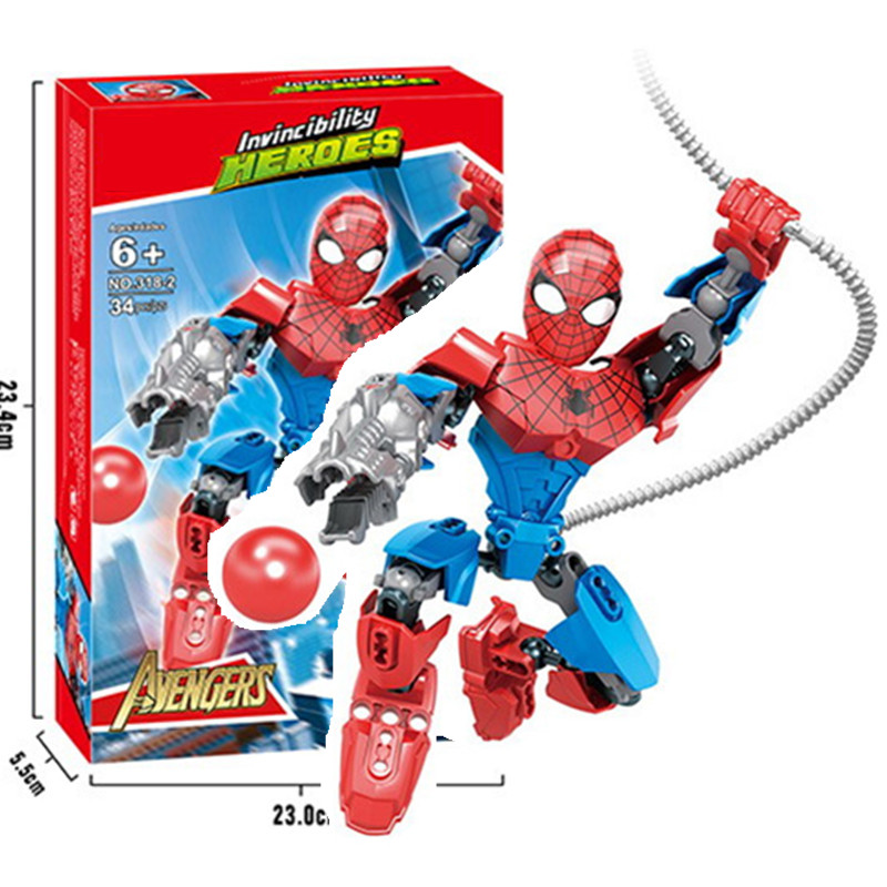 Super hero Spiderman Batman Building Blocks Compatible With Lego Spiderman Educational Toy boy Birthday Gift Brinquedo сабо spiderman