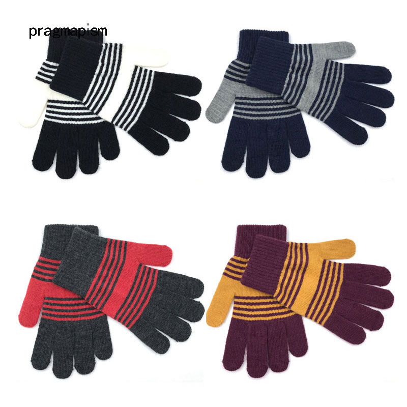 4 Colors Striped Magic Knitted Gloves Man Woman Warm Autumn Winter Adult Unisex Fashion Thick Gloves