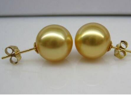 "10 mm Golden SOUTH SEA SHELL Collier De Perles 18/"""