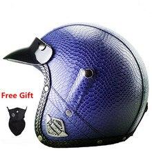 Retro For  Helmet Motorcycle Battery 3/4 Foreskin Autumn Leather Half Helmet Men Women Handmade Personalized Custom Helmet