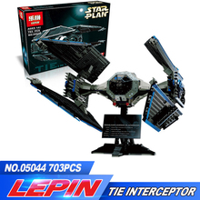 LEPIN 05044 703Pcs TIE Interceptor Model Building Kit Block Brick Compatible legoed Children Toy 7181