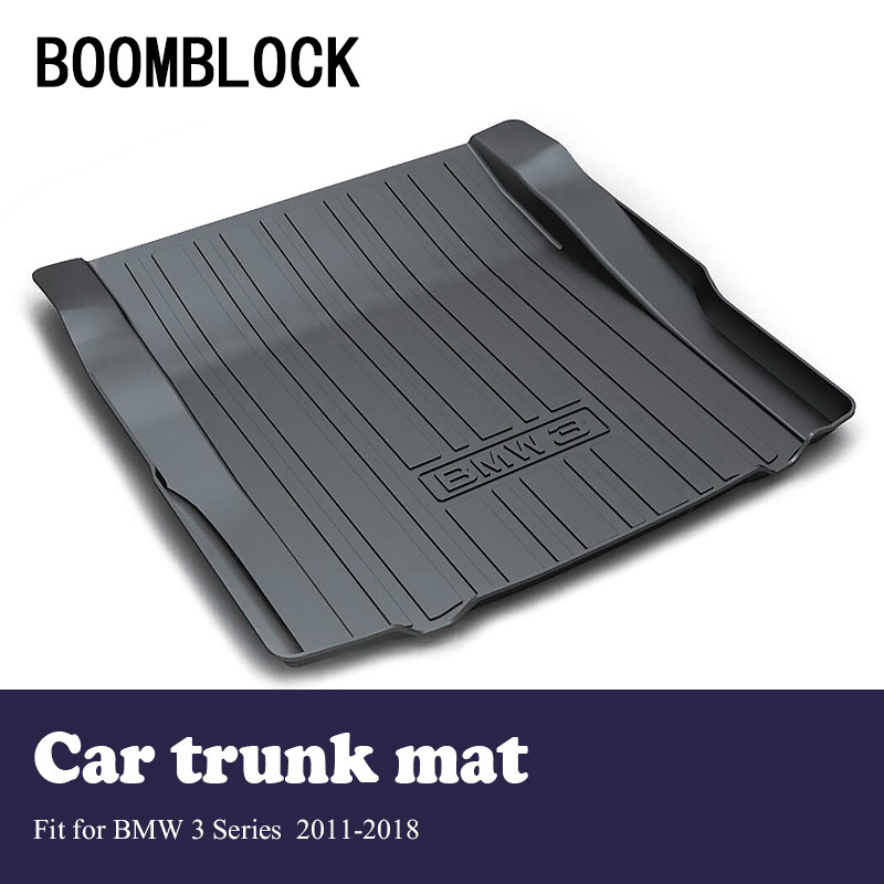 BOOMBLOCK For 2011-2018 BMW F30 3 Series Waterproof Anti-slip Car Trunk Mat Tray Floor Carpet Pad Protector Auto Accessories boomblock for infiniti q50 q50l waterproof anti slip car trunk mat tray floor carpet pad protector auto accessories