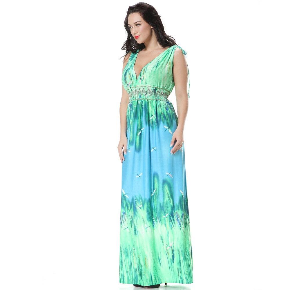 Arthsdite Women Green Large Maxi Dress XL 7XL Plus Size Long Casual ...