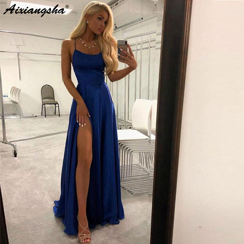 Simple but Elegant Design Satin   Dress   Spaghetti Straps   Prom   Gowns 2019 Royal Blue High Slit Evening   Prom     Dresses   Long