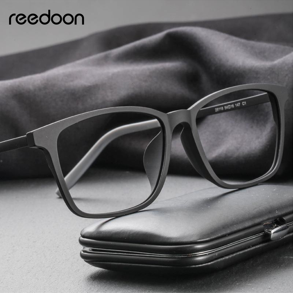 Reedoon Optical Eye Glasses Frame Ultralight Square Prescription Eyeglasses Plastic Titanium TR90 Frame Clear Lens For Men Women image