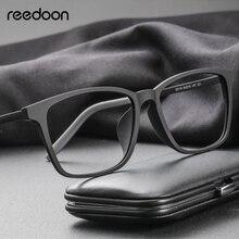 Reedoon armação unissex, armação para prescrição de óculos de grau, quadrado, de titânio e plástico, lente clara, unissex tr90