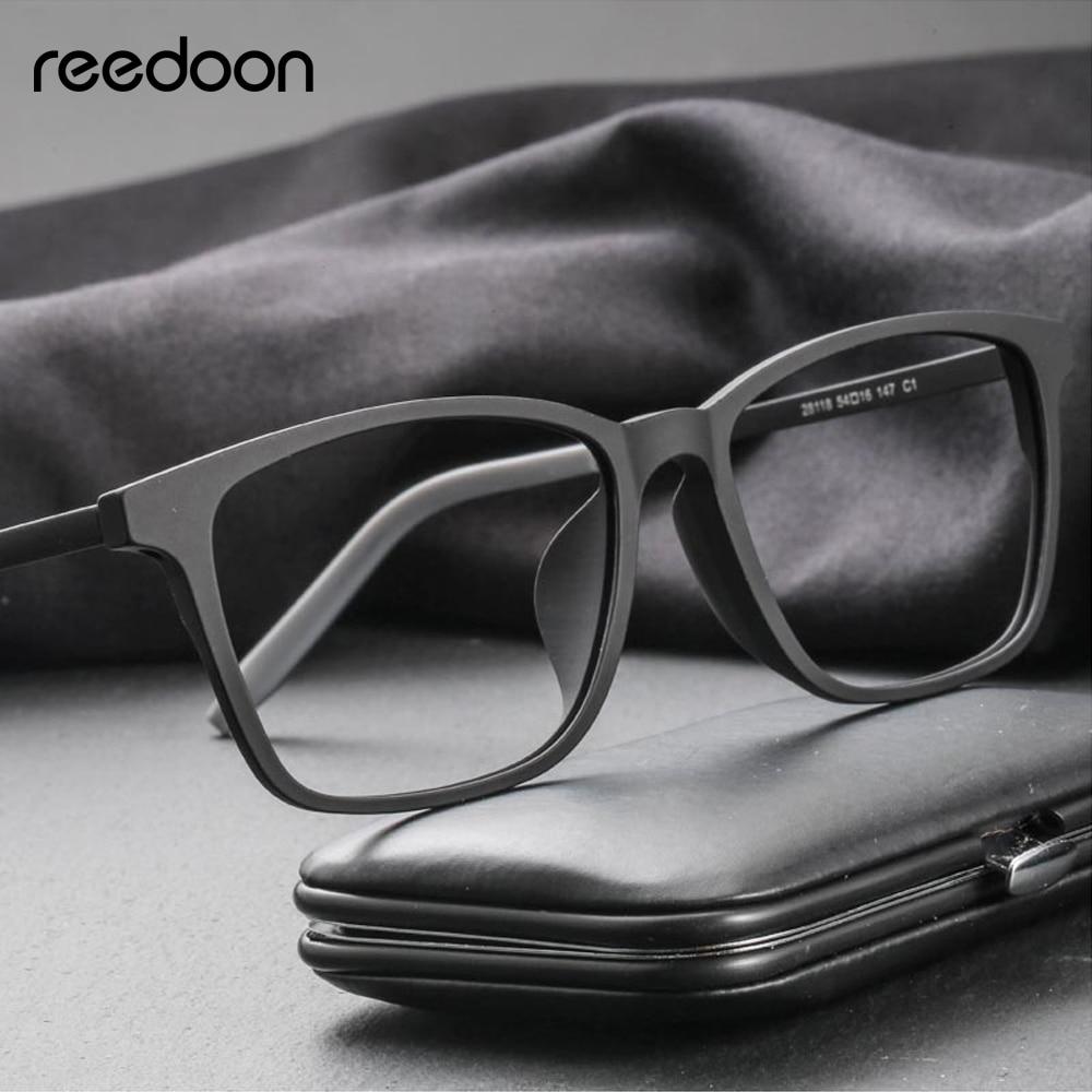 Reedoon optique lunettes de vue cadre ultraléger carré Prescription lunettes en plastique titane TR90 cadre clair lentille pour hommes femmes