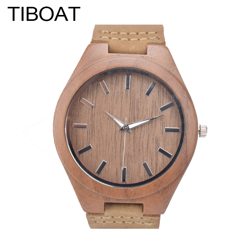 TIBOAT  2017 New Arrival Luxury Wood Watches Bamboo Genuine Leather Band Men Women Simple Casual Quartz Wooden Wristwatch simple brown bamboo full wooden adjustable band strap analog wrist watch bangle minimalist new arrival hot women men nature wood