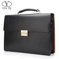 YINTE кожаная мужская деловая портфель высокого качества рабочая сумка формальная мужская сумка черная сумка сумки для юристов Мужская Портф