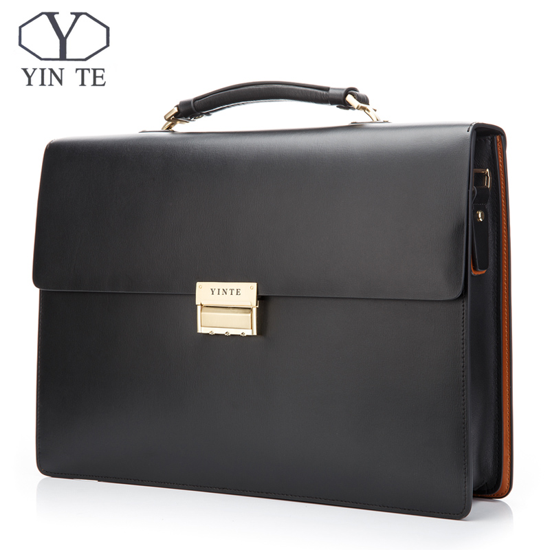 YINTE Leather Men's Business Briefcase High Quality Working Bag Formal Men's Bag Black Bag Laywer Bags Men Portfolio T8058-5