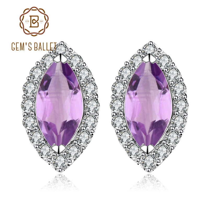 Gem's Ballet Round Natural Amethyst Earrings Fine Jewelry Solid 925 Sterling Silver Earrings For Women Earring