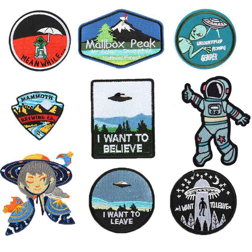 Exquise De buitenste ruimte Alien Punk Patches Ijzer Op mailbox piek Applicaties Visser jongen Diy kinderkleding Coat Patches