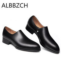 b5bc29e375a74 New Pointed Toe Genuine Leather Men Shoes Casual Fashion Design Mens  Business Dress Shoes Men Career