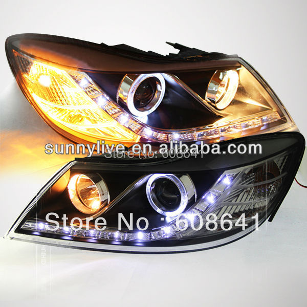 For VW for Skoda Octavia LED Head Lamp Angel Eyes 2011-12 LD Type for vw for skoda octavia led headlamp angel eyes 2007 2009