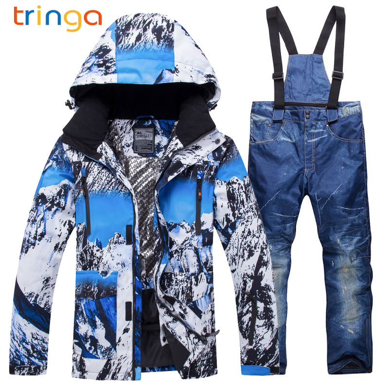 TRINGA Brands Ski Suit Men 2018 New XR Windproof Waterproof Thicken Male Clothes Coat Trousers Pants Winter Ski Snowboard Jacket winter ski suit men waterproof windproof thicken breathable ski jacket and trousers sets for male print snowboard coats jackets