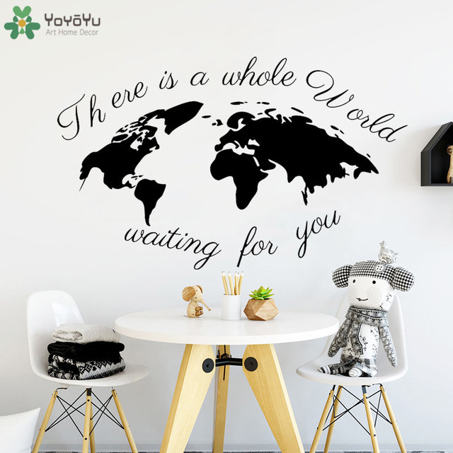 Creative World Map Wall Decal Quotes There S The Whole Waiting For You Nursery Room
