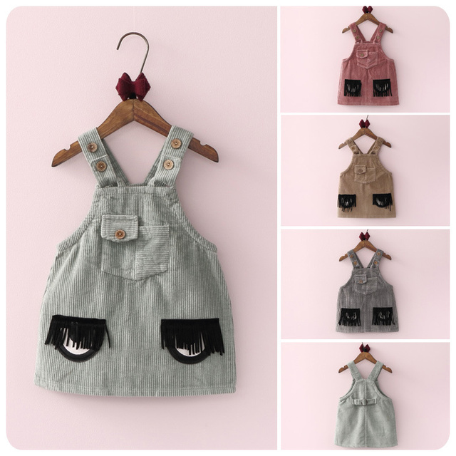 Girl Children's Garment 2016 Autumn New Product Girl Baby Cartoon Tassels Eye Straps Skirt A A-line Skirt Camisole Skirt