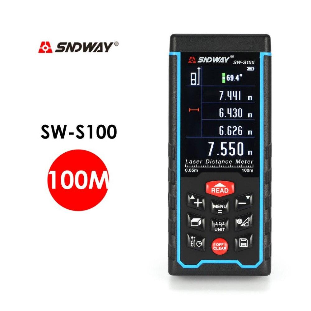 SNDWAY SW-S100 100M Handheld Laser Distance Meter Range Finder Trena Laser Tape Measure Distance Tool Rangefinder sw 40 sndway laser distance meter