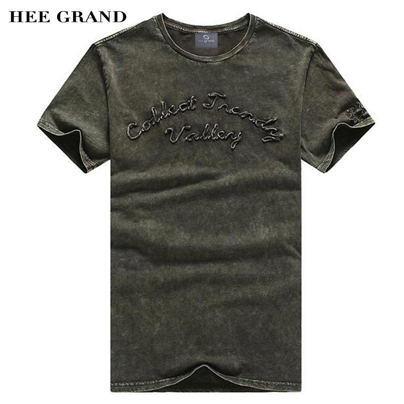 HEE GRAND Men Summer T- Shirts 2018 Whole Cotton Comfortable Material Casual Slim Fitted Letter Print Slim Men Top Tees MTS2373