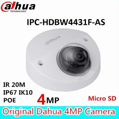 Dahua 4MP IR Mini Dome Network CameraH.265 IR20m IP67 POE Micro SD memory CCTV camera IPC-HDBW4431F-AS built in mic face detect wholesale dahua dh ipc hdbw4233r as 2mp ir mini dome network ip camera ir poe audio sd card stellar h265 h264 ipc hdbw4233r as