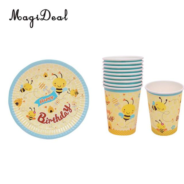 20pcs/Set Bee Paper Disposable Plates Cups Birthday Party Tableware Decor  sc 1 st  AliExpress.com & 20pcs/Set Bee Paper Disposable Plates Cups Birthday Party Tableware ...