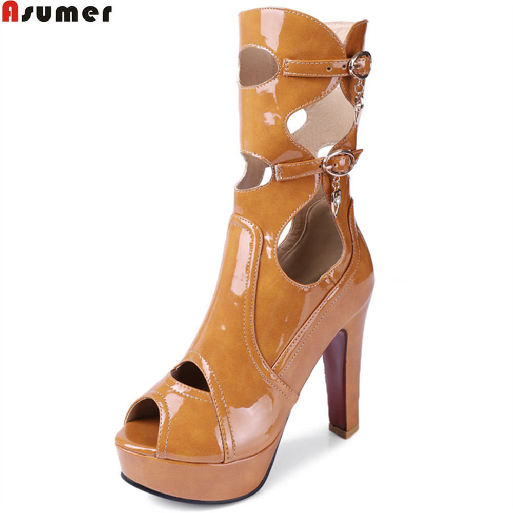 ASUMER black yellow brown fashion spring autumn ladies prom shoes peep toe buckle women high heels mid calf boots big size 2018 new superstar flock runway peep toe slip on fashion brand shoes wedges autumn spring lazy zipper mid calf boots for women