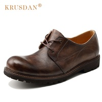 KRUSDAN British Style Platform Man Formal Dress Shoes Genuine Leather Derby Handmade Oxfords Round Toe Men