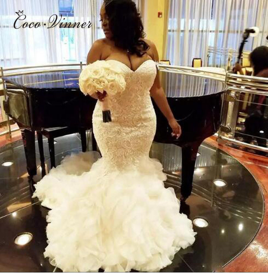 Africa Pure White Mermaid Wedding Dresses Elegant Lace Embroidery Wedding Gowns 2019 Plus Size Mariage New Wedding Dress W0381
