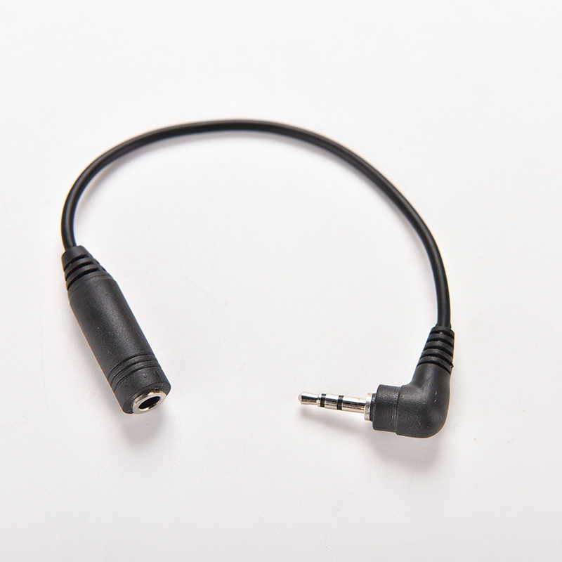 Caliente 2,5mm ángulo recto macho enchufe hembra a 3,5mm Jack estéreo AUX Audio TRS DC conversor adaptador de corriente Cable 15,5 CM de longitud