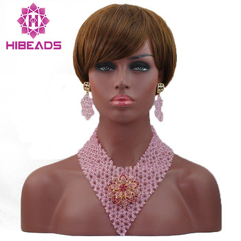 Nigerian Wedding African Beads Necklace Set Baby Pink Chunky African Jewelry Sets Gift 2017  Free Shipping WD315