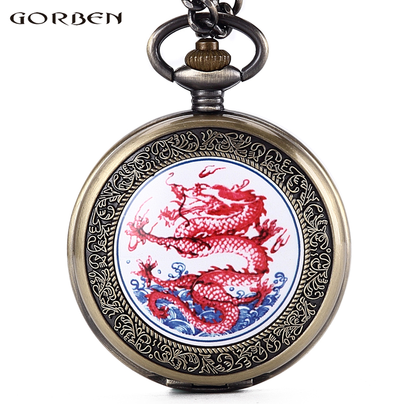 New Retro GORBEN Men's Watches Vintage Chinese Red Dragon Quartz Pocket Watch Roman Number Dial Fob Chain Necklace For Men Women otoky montre pocket watch women vintage retro quartz watch men fashion chain necklace pendant fob watches reloj 20 gift 1pc