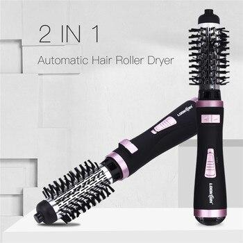 2 ב 1 משולבת שיער מייבש מברשת אוטומטי מסתובב שיער מסרק קרלינג סטיילינג כלים סלון לפוצץ מייבש מברשת שיער יבש & רטוב