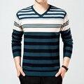 Качество бренда 2016 Осень Тонкий Свитер мужчины новая мода Полосатые пуловеры мужчины шерсть Вязаный V-образным Вырезом трикотаж homme Плюс размер