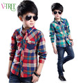 Vtree new spring boys shirts England style boys plaid shirts teenage school shirts for boys fashion kids clothes outwear 4-14 Y