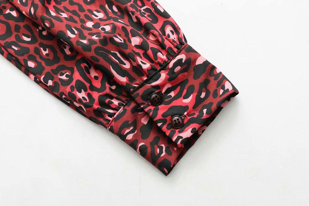 Down Larga Collar Blusa Tops Camisa Turn Manga Casual Leopard Borgoña Mujer Señora Corta Vintage Trabajo Oficina Print vUgwxFp