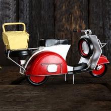 Vintage Pendal Motorcycle Model European and American Metal Motorbike Figurine Iron Retro Motor Bicycle Ornament Handmade Crafts