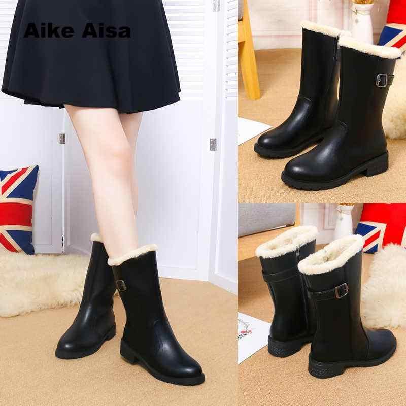 3b8bac6b725 ... 2019 New Autumn Winter Mid-calf Women Boots Flats Heels Warm Plush PU  Leather High ...