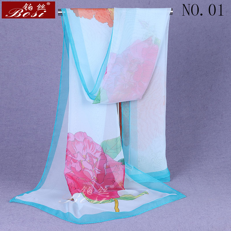 chiffon   scarf   Fashion Women luxury brand Plant flower shawls Print adult hijab Multicolor shawl ladies   scarf     wrap   female scarfs