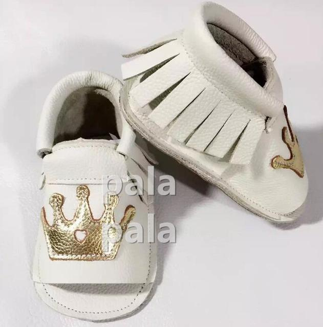 NEW wholesale 10 pairs/lot Summer Gold crown genuine leather baby moccasins tassels girls boys soft soled first walkers shoes
