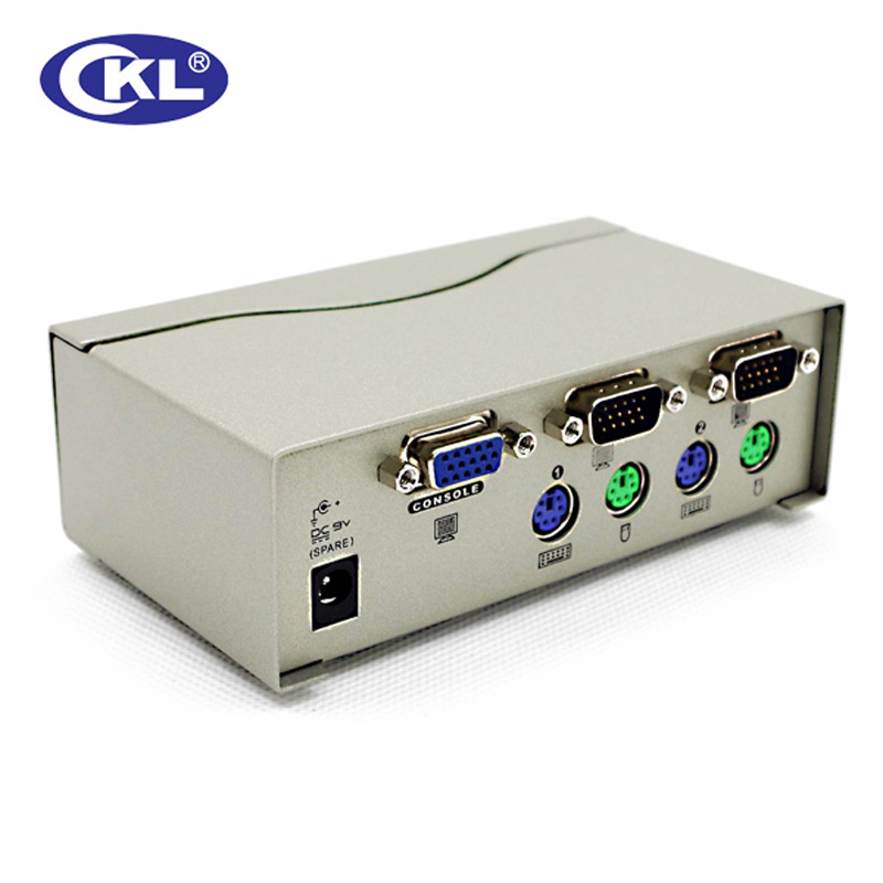 CKL 2 Port PS2 VGA KVM Switch with Cables Support Auto Scan Hotkey, PC Monitor Keyboard Mouse DVR Server Swithcer CKL-82A