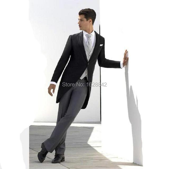 2016 Мода Черный Смокинги Серые Брюки Белый Жилет 3 Шт Формальные Свадебные Костюмы Для Мужчин На Заказ Плюс Размер Свадебные костюмы