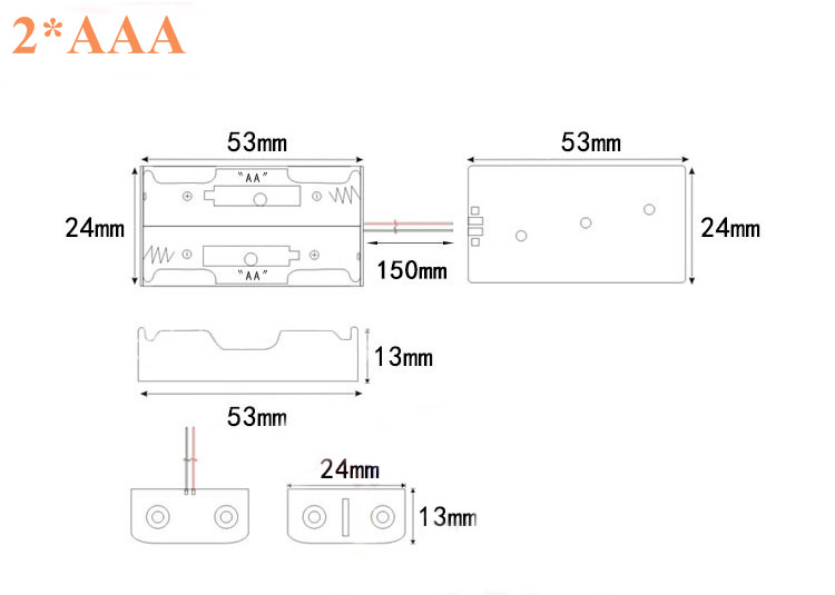 2xAAA 3xAAA 4xAAA 1.5V Plastic Black Spring Battery Storage Case Box Battery Holder Plastic Conta