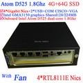 mini atx with fan Intel Atom D525 1.8Ghz 4 Gigabit Lan Firewall mini ITX motherboard 4-way input and output GPIO 4G RAM 64G SSD